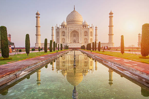 sunrise over taj mahal - india stock pictures, royalty-free photos & images