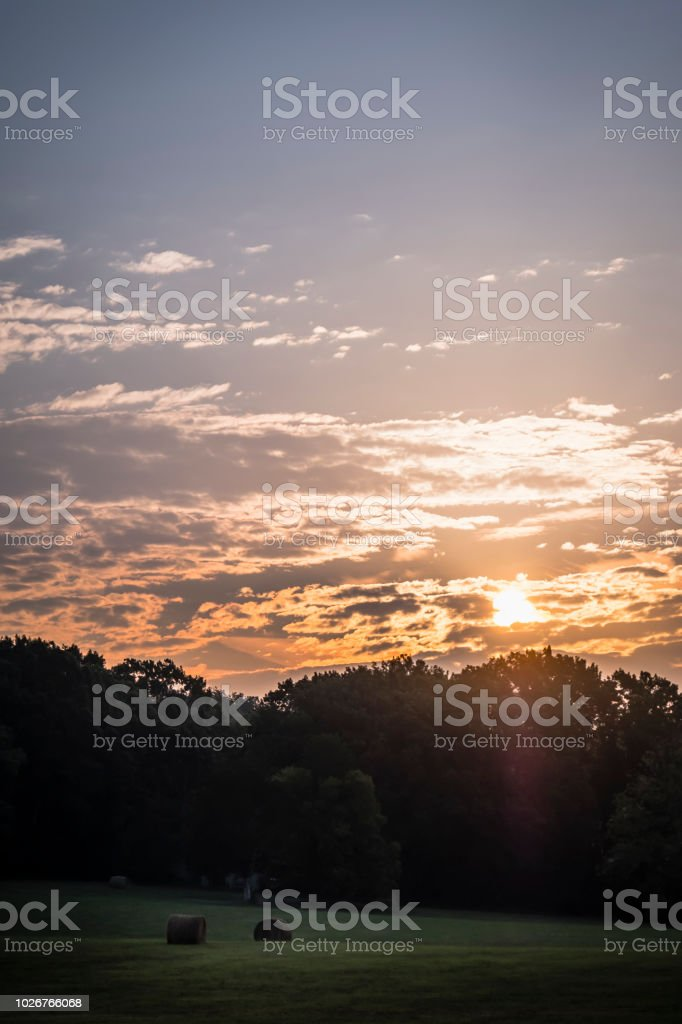 Sunrise over Tennessee Field stock photo