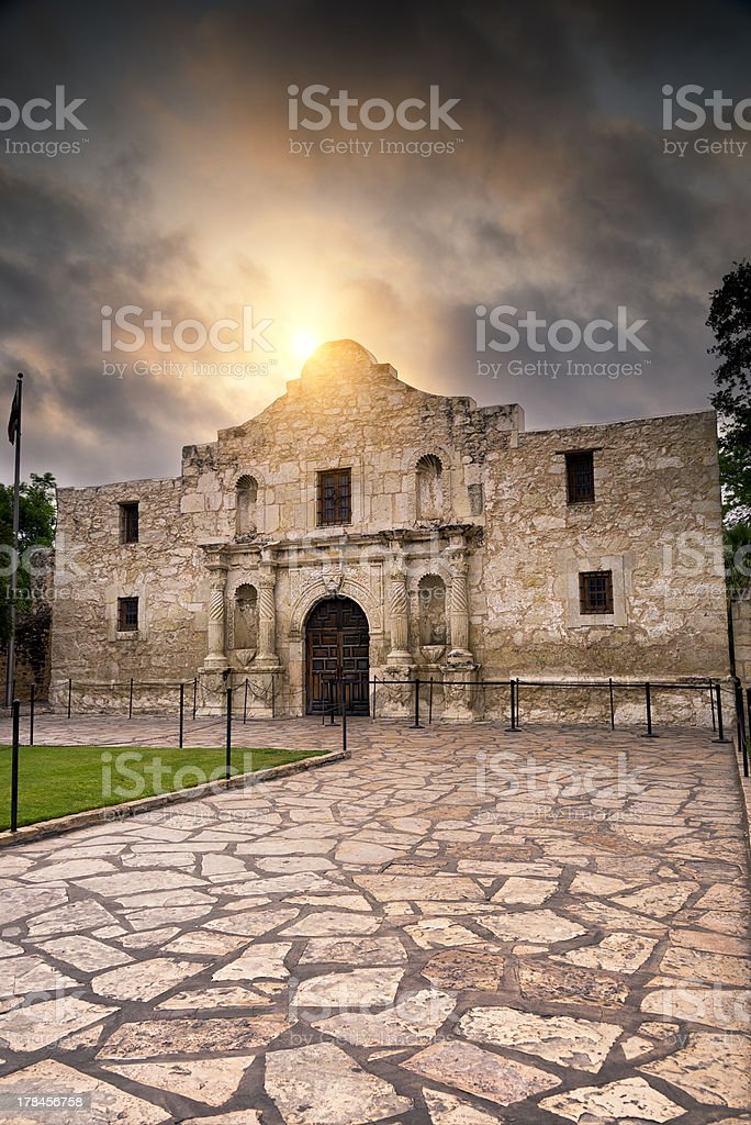 Sunrise Over the Alamo stock photo