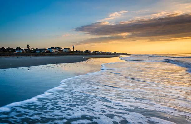 Sunrise over the Atlantic Ocean in Folly Beach, South Carolina. stock photo