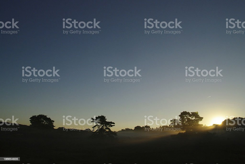 Sunrise over the Bbrunssummerheide heatland royalty-free stock photo