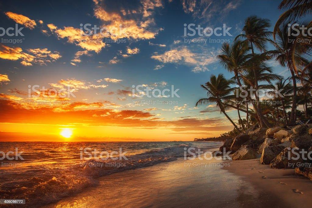 Nascer do sol sobre a Praia - fotografia de stock