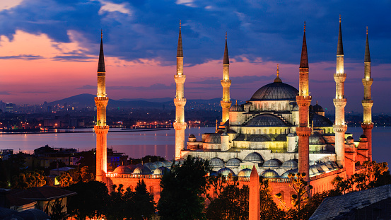 Sultan Ahmed Mosque (Sultanahmet Camii) is known as the Blue Mosque for its blue interior,  Istanbul, Turkey.