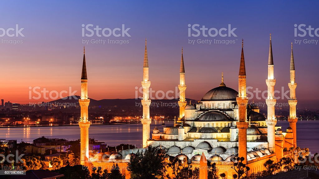 Sunrise over The Blue Mosque, Istanbul, Turkey stock photo