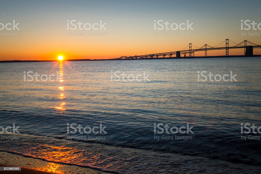 Sunrise Over the Chesapeake Bay Bridge Horizontal stock photo