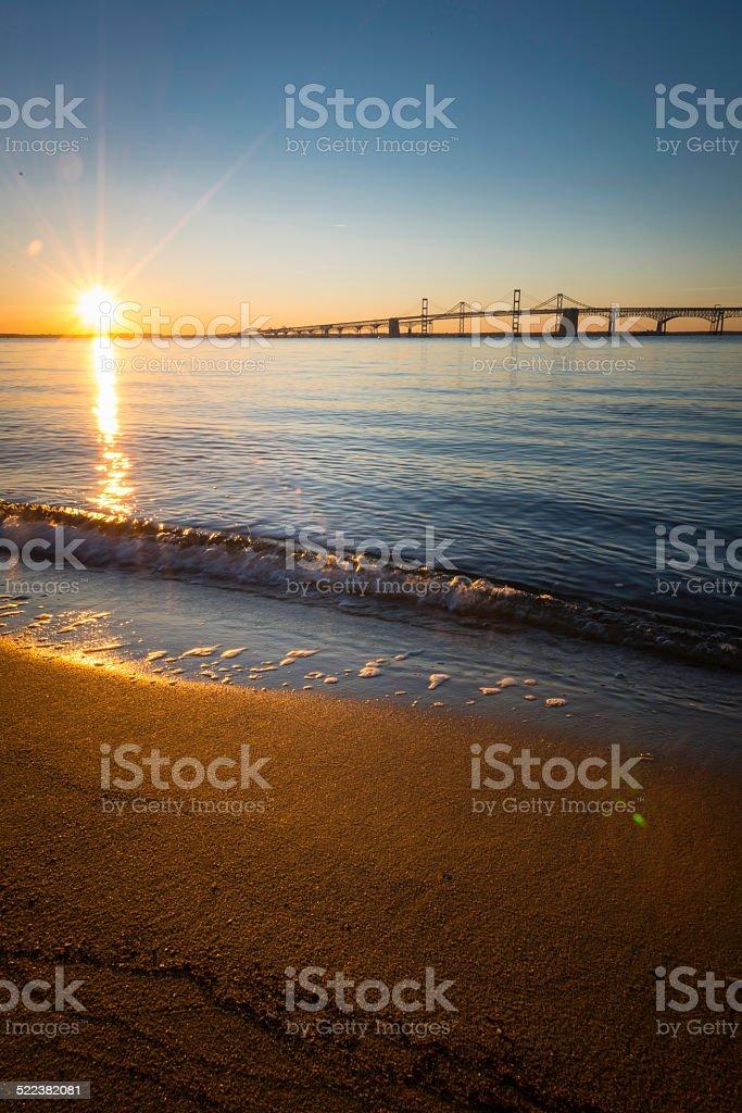 Sunrise Over the Chesapeake Bay Bridge Vertical royalty-free stock photo