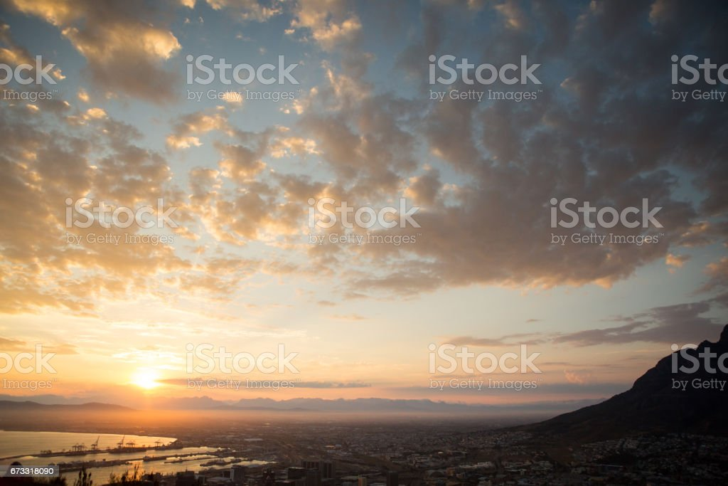 Sunrise over the City of Cape Town stock photo