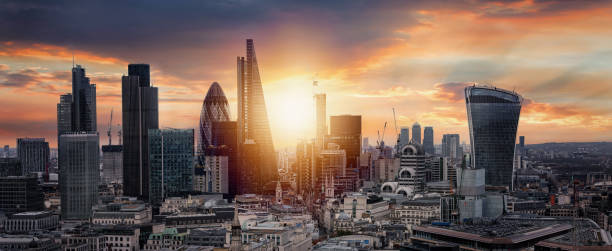 Sunrise over the City of London Sunrise over the City of London, United Kingdom london england stock pictures, royalty-free photos & images