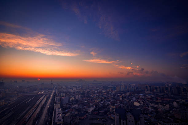 Sunrise over the city view from above with a scenic panorama stock photo