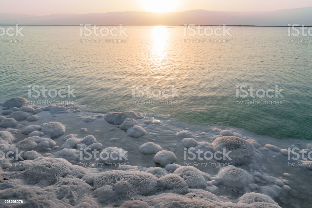 sunrise over the Dead Sea in Israel stock photo