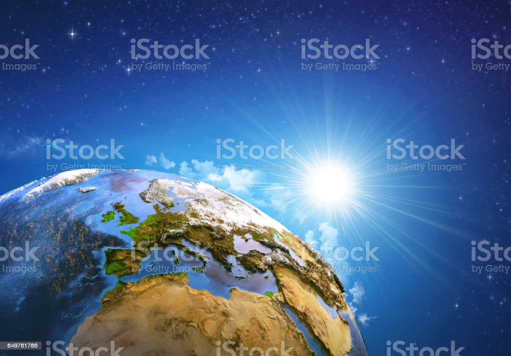 Sunrise over the Earth stock photo