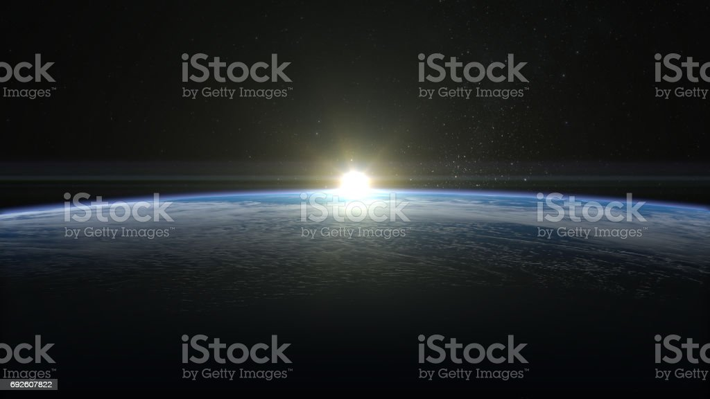 Sunrise over the Earth. View from space. stock photo