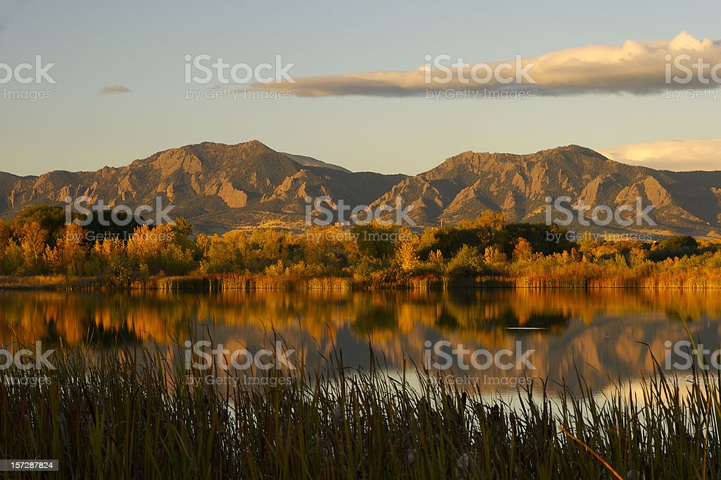 Sunrise over the Flatirons stock photo