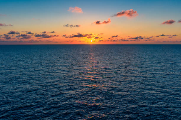 Sunrise over the Gulf of Mexico stock photo