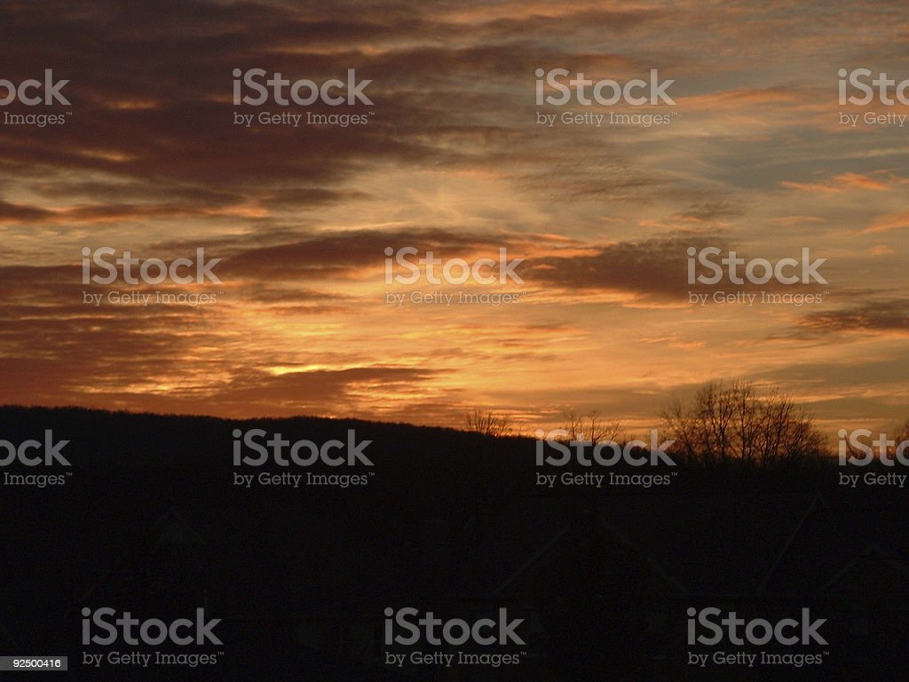 Sunrise over the Hill royalty-free stock photo