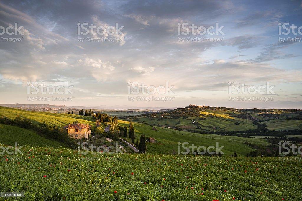 Sunrise over the hills of Tuscany stock photo