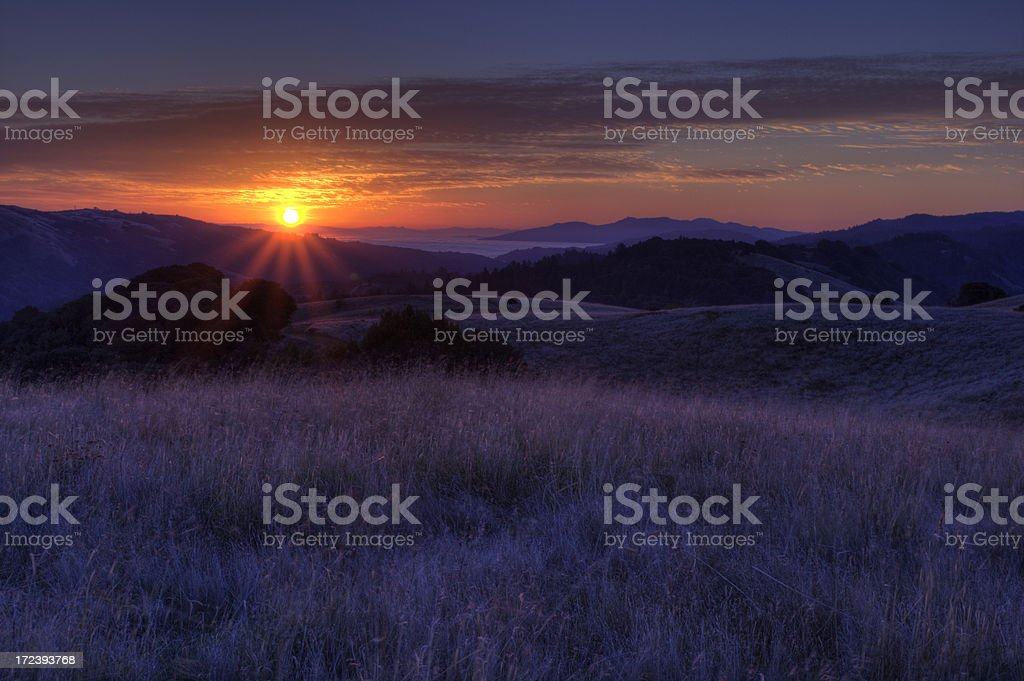 Sunrise over the Hills royalty-free stock photo