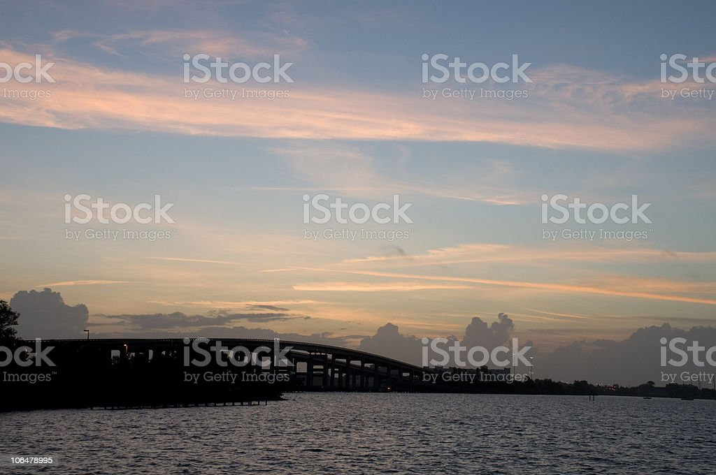 Sunrise over the Indian River in Florida. stock photo