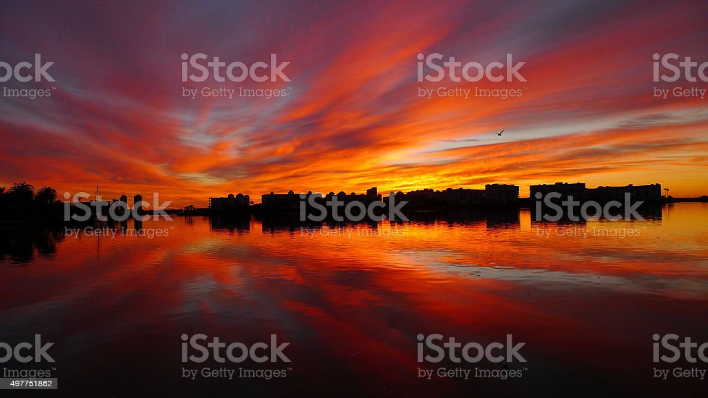 Sunrise over the intracoastal waterway stock photo