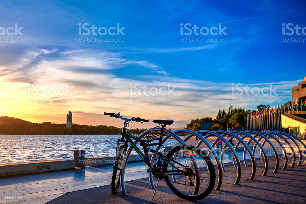 Sunrise Over The Lake Burley Griffin stock photo