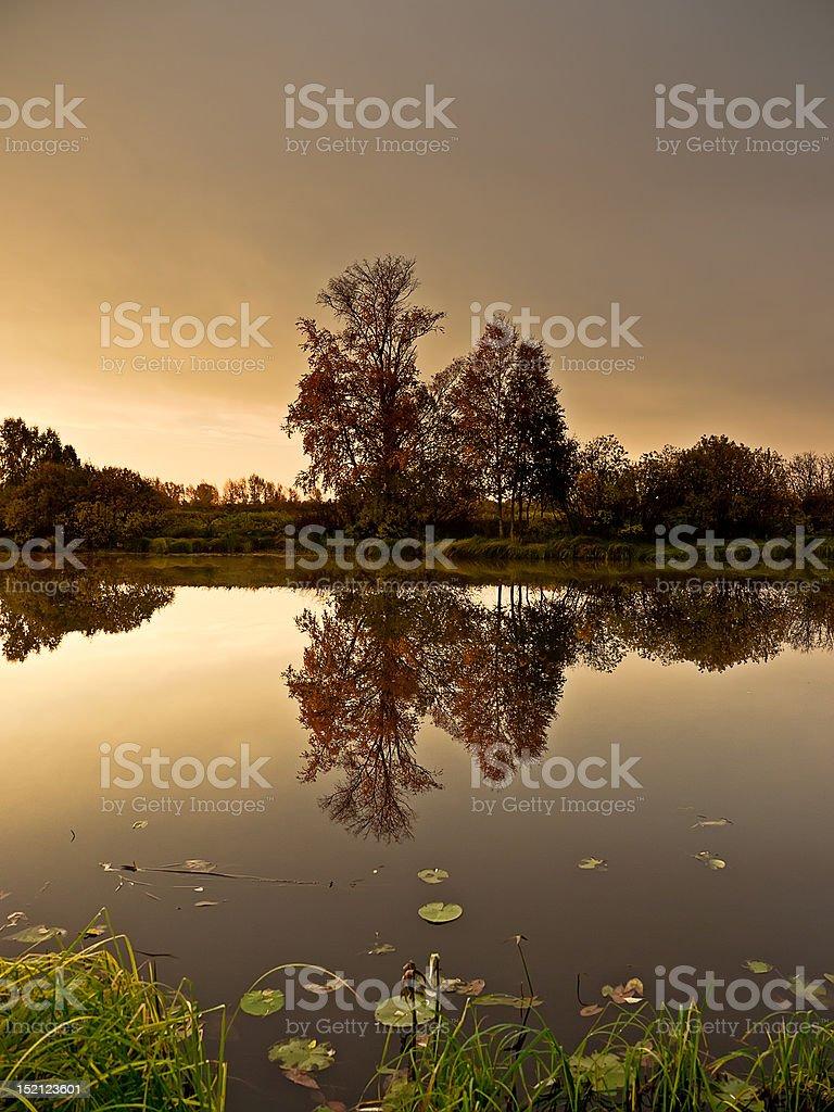 Sunrise over the lake royalty-free stock photo