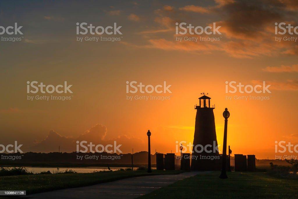 Sunrise over the Lighthouse on Lake Toho stock photo