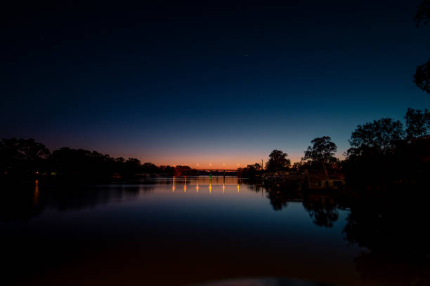 Sunrise over the Murray River stock photo