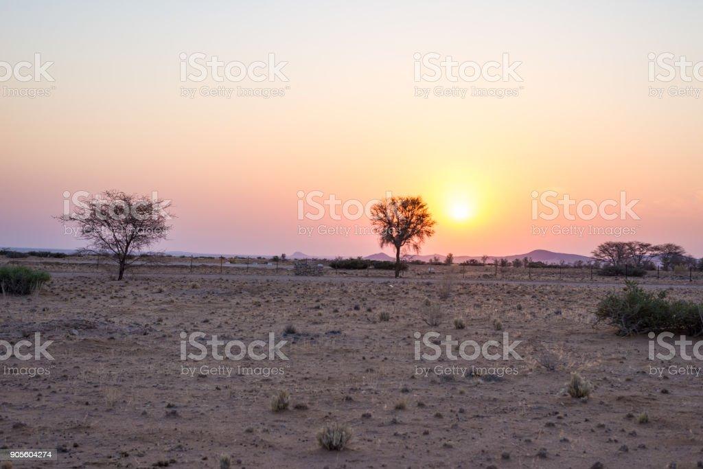 Sunrise over The Namib desert, roadtrip in the wonderful Namib Naukluft National Park, travel destination in Namibia, Africa. Morning light, mist and fog. stock photo