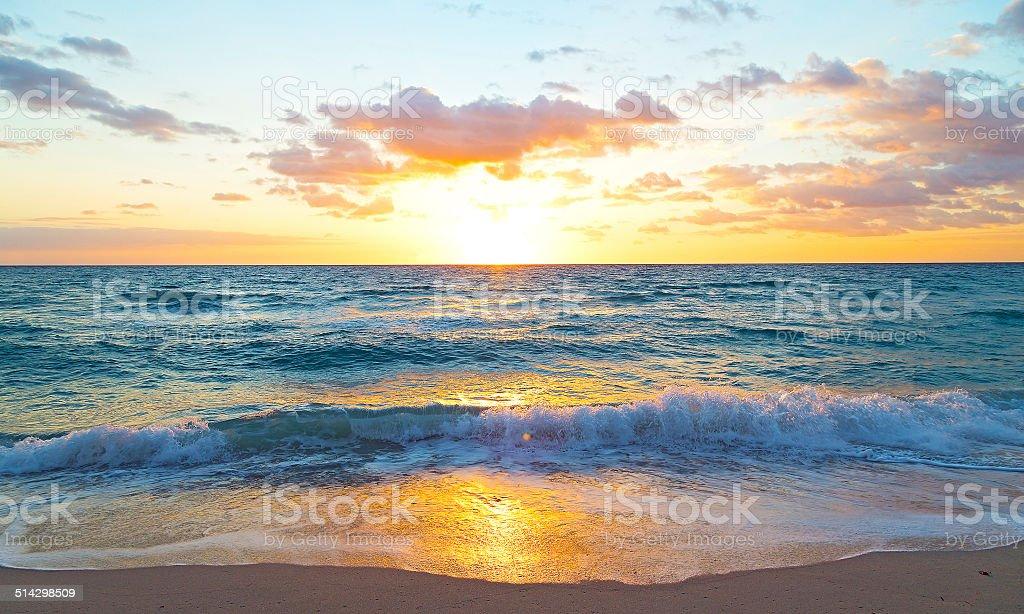 Sunrise over the ocean in Miami Beach, Florida. stock photo