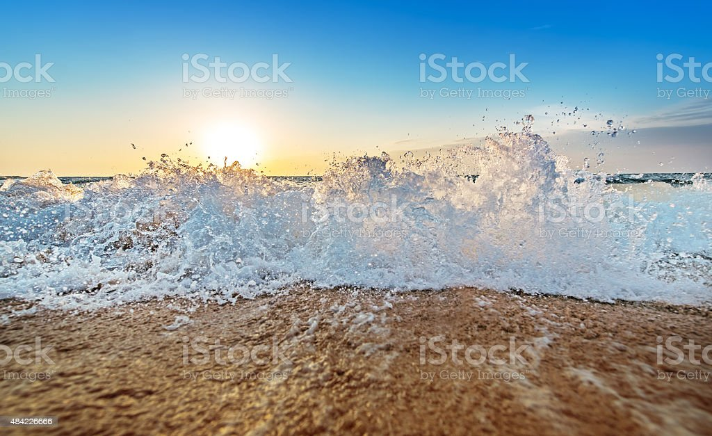 Sunrise Over the Pacific Ocean. stock photo