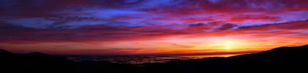 Sunrise over the rice fields of the Ebro Delta, Montsia, Catalonia, Spain stock photo