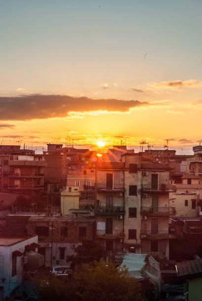 Sunrise over the Rome district, Centocelle - foto stock