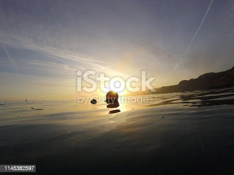 Glassy sea along the coast