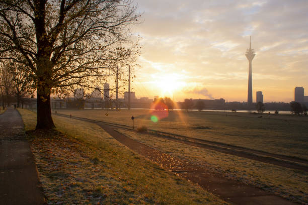 Sunrise over the skyline of Dusseldorf in the morning stock photo