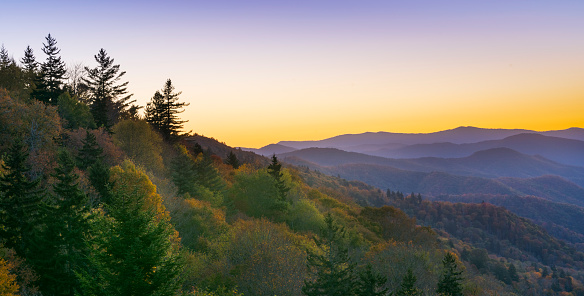 Sunrise over Mountains and Autumn Foliage. Great Smoky Mountains National Park, Tennessee