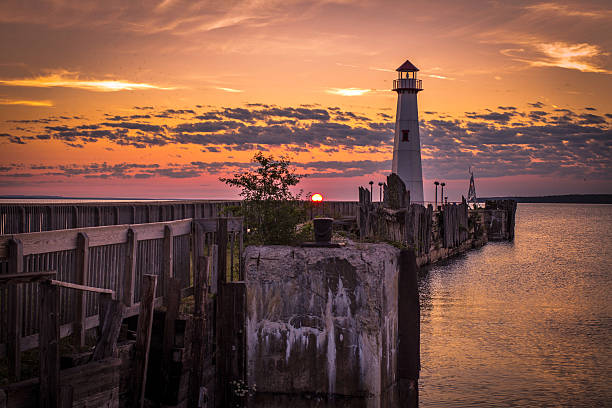 sunrise over the st. ignace waterfront district - mackinac island stock photos and pictures