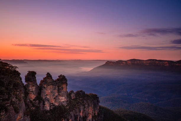 Sunrise over the Three Sisters/Blue Mountains stock photo