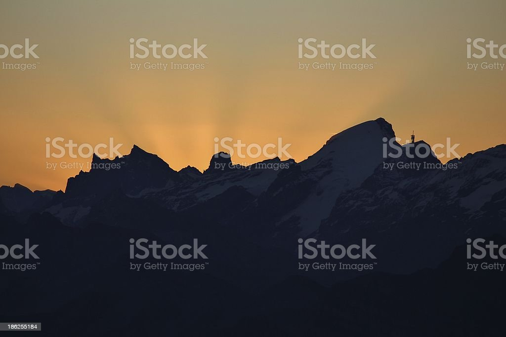 Sunrise over the Titlis royalty-free stock photo