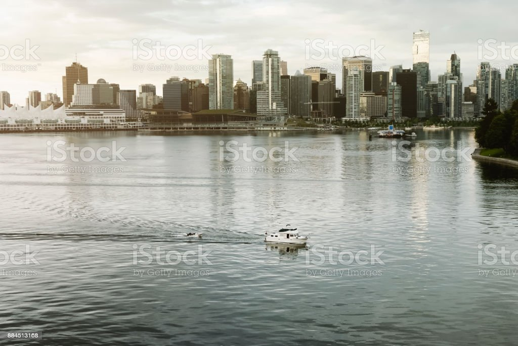 Sunrise over the urban skyline in downtown Vancouver, BC stock photo