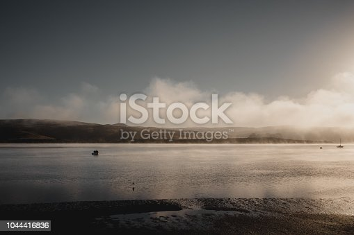 Sunrise and fog over Tomales Bay. Viewed from Inverness, California.