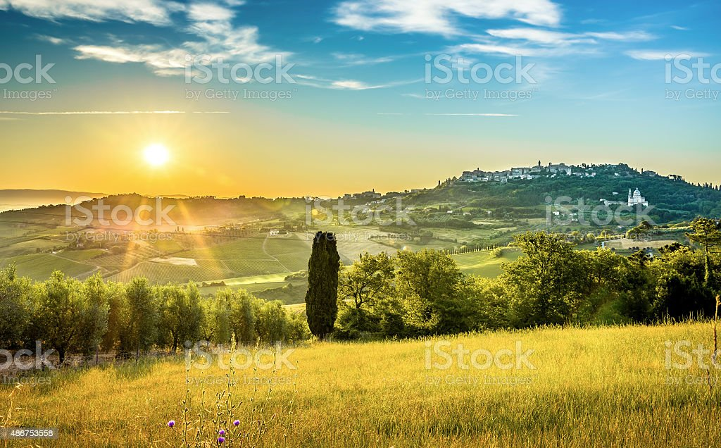 Sunrise over tuscan landscape stock photo
