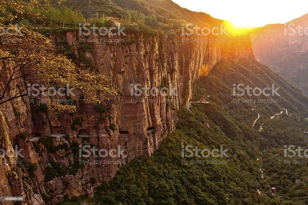 Sunrise over valley stock photo