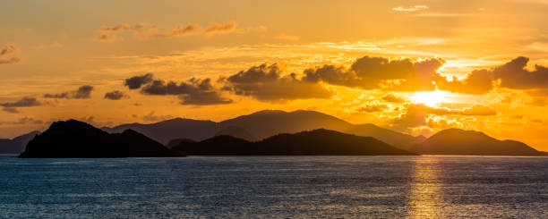 Sunrise over Virgin Islands in Caribbean Sea stock photo