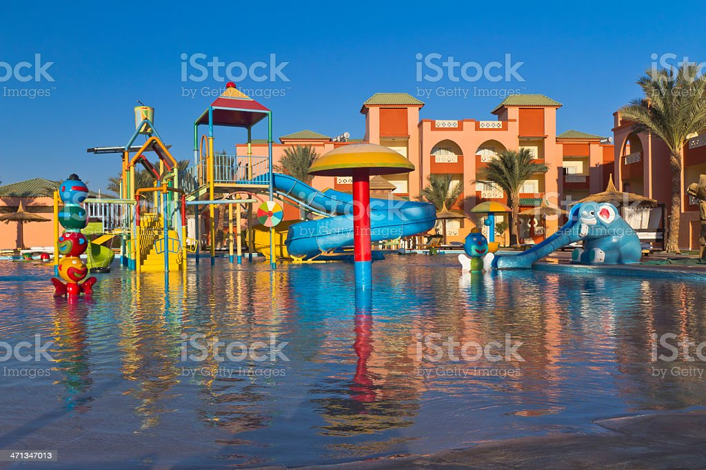 Sunrise Over Waterpark In Tropical Resort Stock Photo More