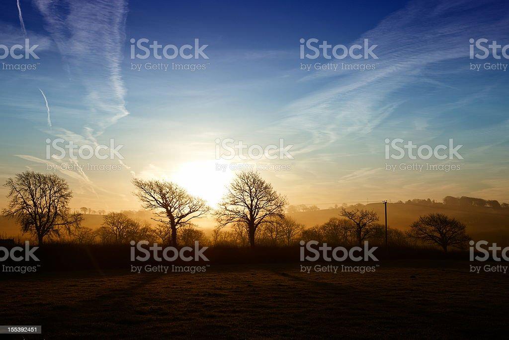Sunrise over Welsh farmland royalty-free stock photo
