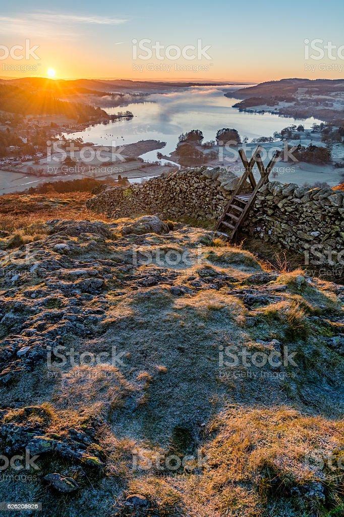 Sunrise over Windermere, Lake District, UK. stock photo