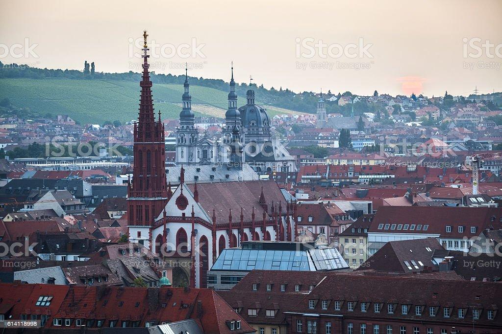 Sunrise over Wurzburg town stock photo