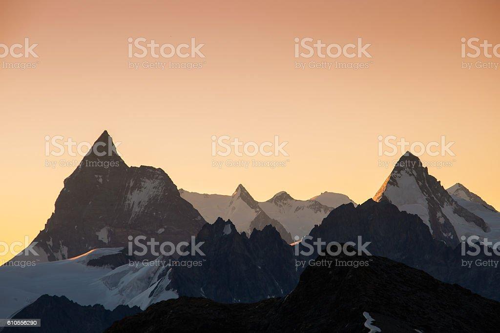 Sunrise over Zermatt stock photo