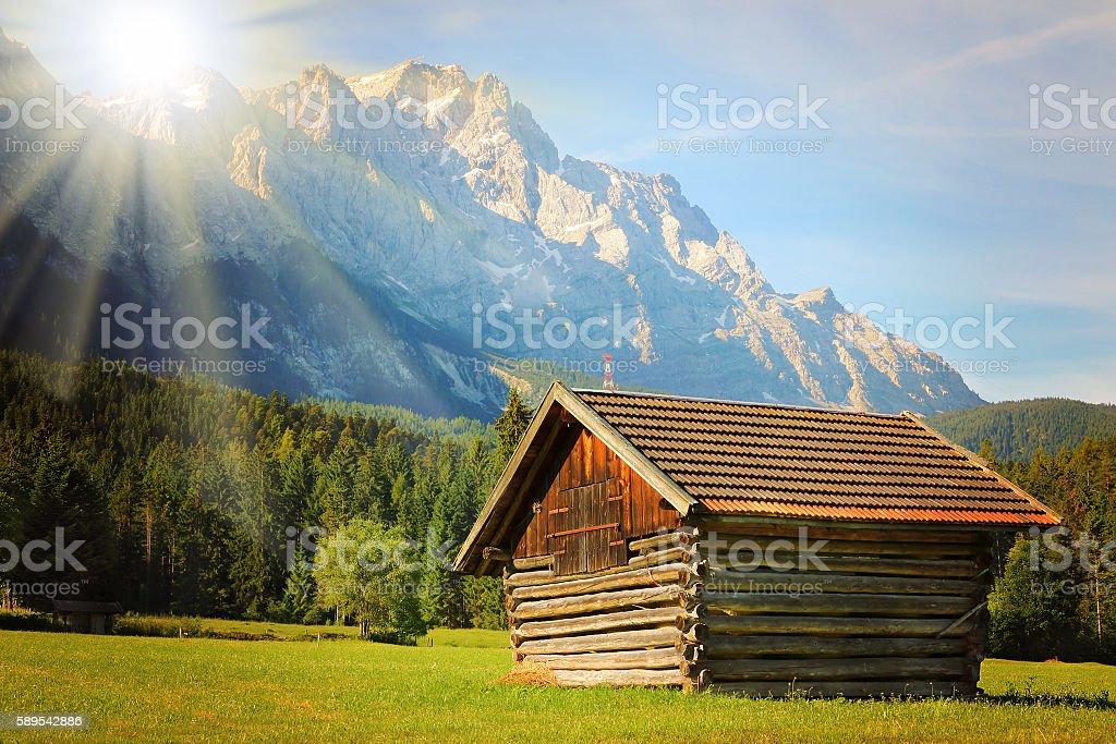 Sunrise over Zugspitze. stock photo