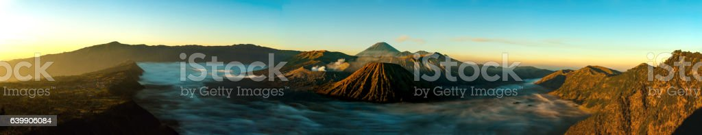 Sunrise panorama at volcano Mount Bromo stock photo